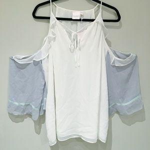 3/$20 Lauren Conrad XXL White Open Shoulder Top
